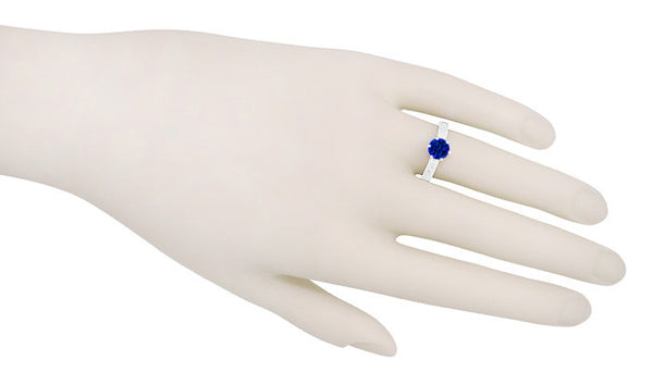 Crown Filigree Scrolls Art Deco Lab Created Blue Sapphire Promise Ring in Sterling Silver - Item: SSR199S - Image: 5