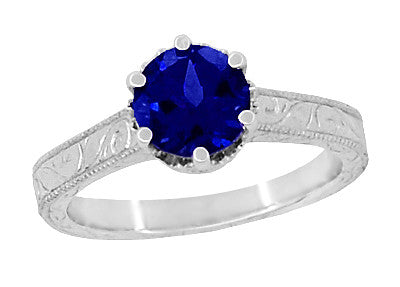 Crown Filigree Scrolls Art Deco Lab Created Blue Sapphire Promise Ring in Sterling Silver