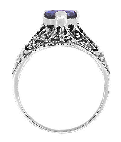 Edwardian Filigree Iolite Ring in Sterling Silver - Item: SSR1io - Image: 1
