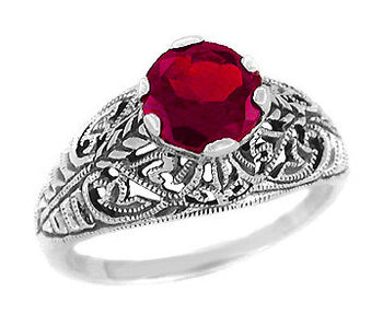 Edwardian Filigree Ruby Promise Ring in Sterling Silver | 1.5 Carats