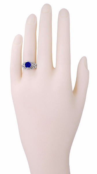 Filigree Edwardian Dome Sapphire Promise Ring in Sterling Silver - Item: SSR1S - Image: 2