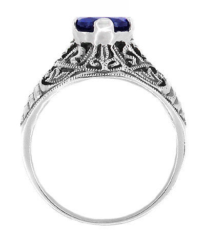 Filigree Edwardian Dome Sapphire Promise Ring in Sterling Silver - Item: SSR1S - Image: 1