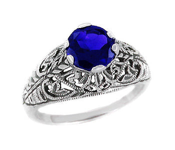 Filigree Edwardian Dome Sapphire Promise Ring in Sterling Silver