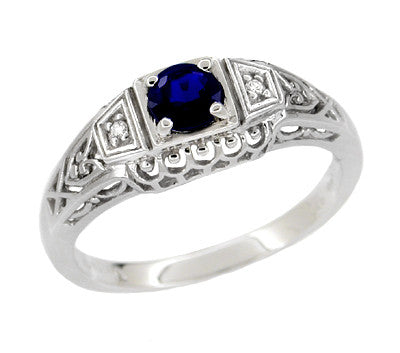 Art Deco Filigree Blue Sapphire Promise Ring in Sterling Silver with Side Diamonds