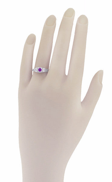 Art Deco Amethyst and Diamonds Filigree Antique Style Promise Ring in Sterling Silver - Item: SSR228A - Image: 2