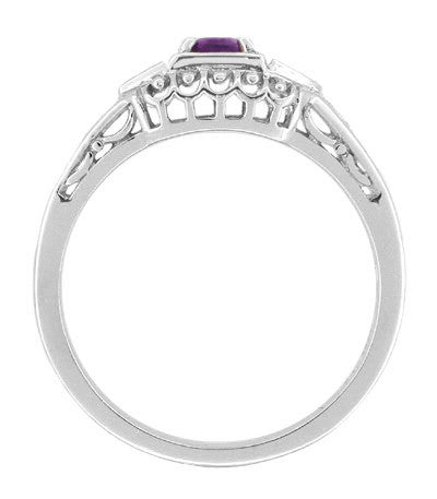 Art Deco Amethyst and Diamonds Filigree Antique Style Promise Ring in Sterling Silver - Item: SSR228A - Image: 1