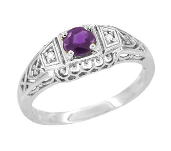 Art Deco Amethyst and Diamonds Filigree Antique Style Promise Ring in Sterling Silver