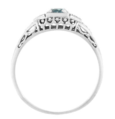 Art Deco Vintage Style Filigree Sky Blue Topaz Promise Ring with Side Diamonds in Sterling Silver - Item: SSR228B - Image: 2