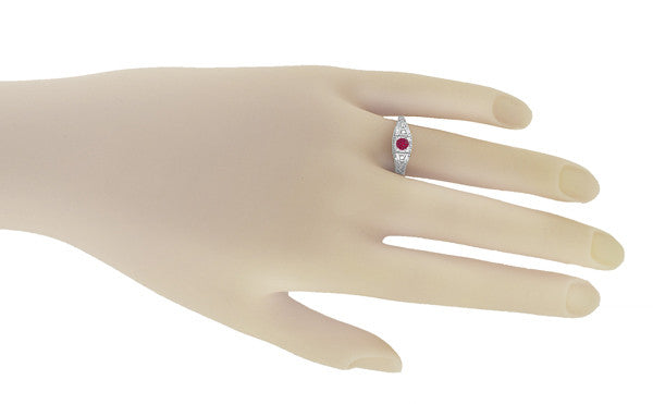 Art Deco Filigree Ruby Promise Ring in Sterling Silver with Diamond Side Stones - Item: SSR228R - Image: 2
