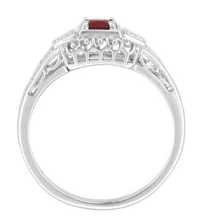 Art Deco Filigree Ruby Promise Ring in Sterling Silver with Diamond Side Stones - Item: SSR228R - Image: 1