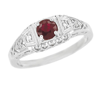 Art Deco Filigree Ruby Promise Ring in Sterling Silver with Diamond Side Stones
