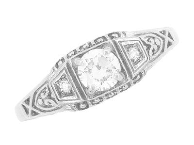 Art Deco White Sapphire Filigree Promise Ring in Sterling Silver - Item: SSR228WS - Image: 3