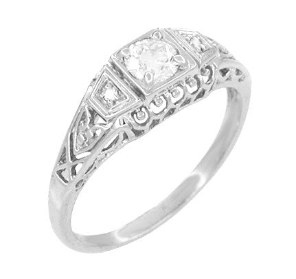 Art Deco White Sapphire Filigree Promise Ring in Sterling Silver - Item: SSR228WS - Image: 1
