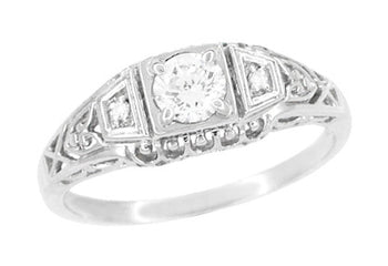 Art Deco White Sapphire Filigree Promise Ring in Sterling Silver