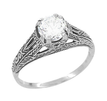 Art Deco Cubic Zirconia ( CZ ) Filigree Engraved Promise  Ring in Sterling Silver | 1.45 Carats