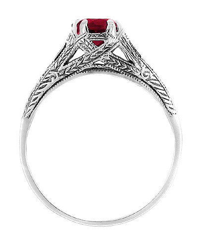 Art Deco Filigree Engraved Ruby Promise Ring in Sterling Silver - Item: SSR2R - Image: 1