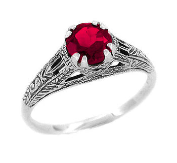 Art Deco Filigree Engraved Ruby Promise Ring in Sterling Silver