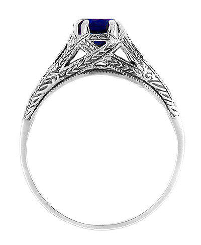 Art Deco Filigree Engraved Blue Sapphire Promise Ring in Sterling Silver - Item: SSR2S - Image: 1
