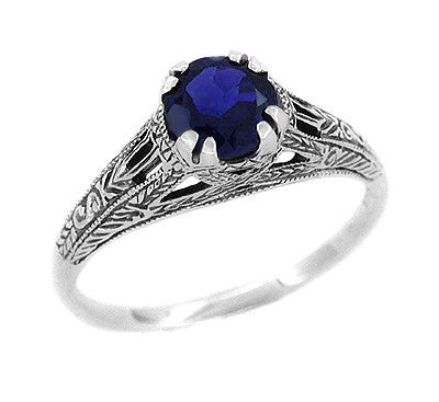 Art Deco Filigree Engraved Blue Sapphire Promise Ring In