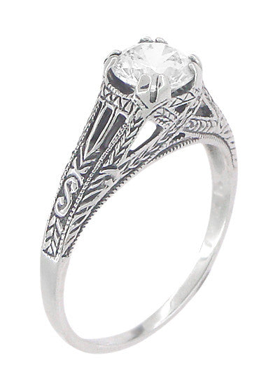 Art Deco White Topaz Filigree Engraved Promise Ring in Sterling Silver - Item: SSR2WT - Image: 2