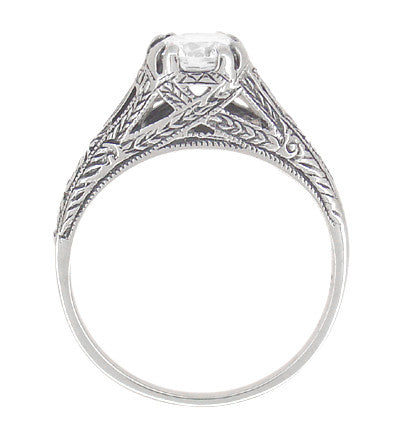 Art Deco White Topaz Filigree Engraved Promise Ring in Sterling Silver - Item: SSR2WT - Image: 3