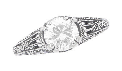 Art Deco White Topaz Filigree Engraved Promise Ring in Sterling Silver - Item: SSR2WT - Image: 4