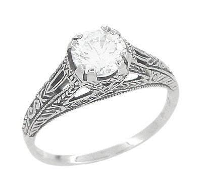 Art Deco White Topaz Filigree Engraved Promise Ring in Sterling Silver - Item: SSR2WT - Image: 1