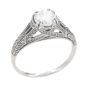Art Deco White Topaz Filigree Engraved Promise Ring in Sterling Silver