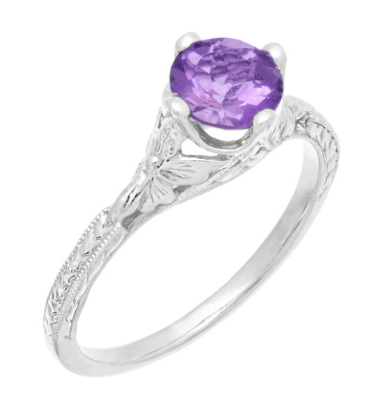 Art Deco Lilac Amethyst Promise Ring in Sterling Silver with Filigree Engraved Flowers - Item: SSR356AM - Image: 2