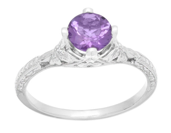 Art Deco Lilac Amethyst Promise Ring in Sterling Silver with Filigree Engraved Flowers - Item: SSR356AM - Image: 3