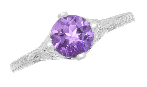 Art Deco Lilac Amethyst Promise Ring in Sterling Silver with Filigree Engraved Flowers - Item: SSR356AM - Image: 4
