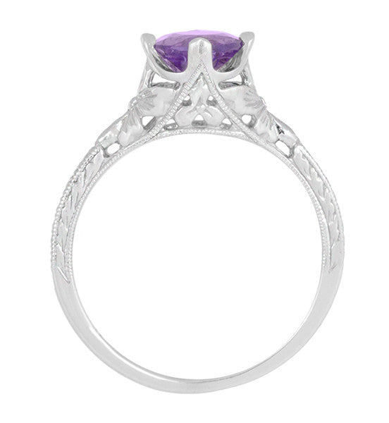Art Deco Lilac Amethyst Promise Ring in Sterling Silver with Filigree Engraved Flowers - Item: SSR356AM - Image: 5