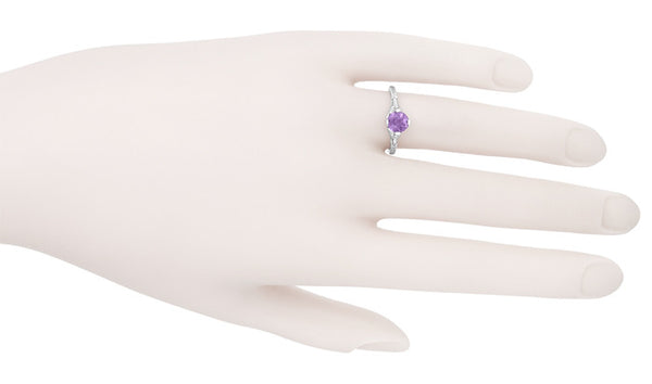 Art Deco Lilac Amethyst Promise Ring in Sterling Silver with Filigree Engraved Flowers - Item: SSR356AM - Image: 6