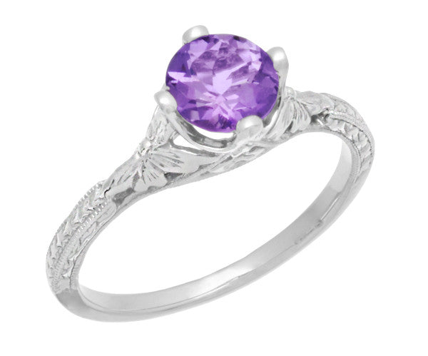 Art Deco Lilac Amethyst Promise Ring in Sterling Silver with Filigree Engraved Flowers - Item: SSR356AM - Image: 1