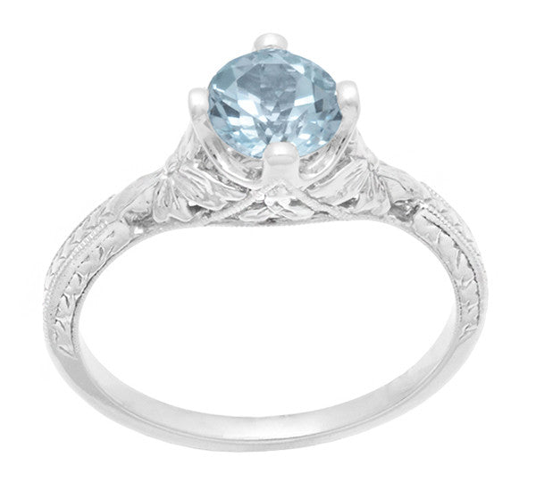 Vintage Engraved Flowers Art Deco Filigree Sky Blue Topaz Promise Ring in Sterling Silver - Item: SSR356BT - Image: 3