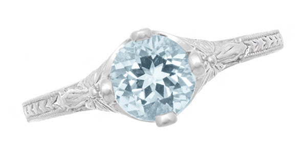 Vintage Engraved Flowers Art Deco Filigree Sky Blue Topaz Promise Ring in Sterling Silver - Item: SSR356BT - Image: 4