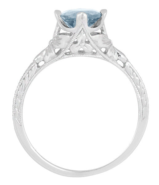 Vintage Engraved Flowers Art Deco Filigree Sky Blue Topaz Promise Ring in Sterling Silver - Item: SSR356BT - Image: 5