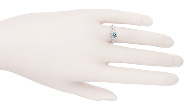 Vintage Engraved Flowers Art Deco Filigree Sky Blue Topaz Promise Ring in Sterling Silver - Item: SSR356BT - Image: 6