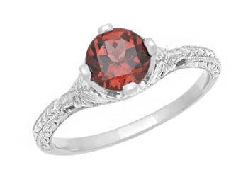 Sterling Silver Art Deco Filigree Red Garnet Promise Ring - Engraved with Flowers & Wheat