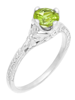 Art Deco Flowers & Wheat Engraved Peridot Promise Ring in Sterling Silver | Vintage Replica