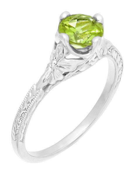 Art Deco Flowers & Wheat Engraved Peridot Promise Ring in Sterling Silver | Vintage Replica - Item: SSR356P - Image: 3