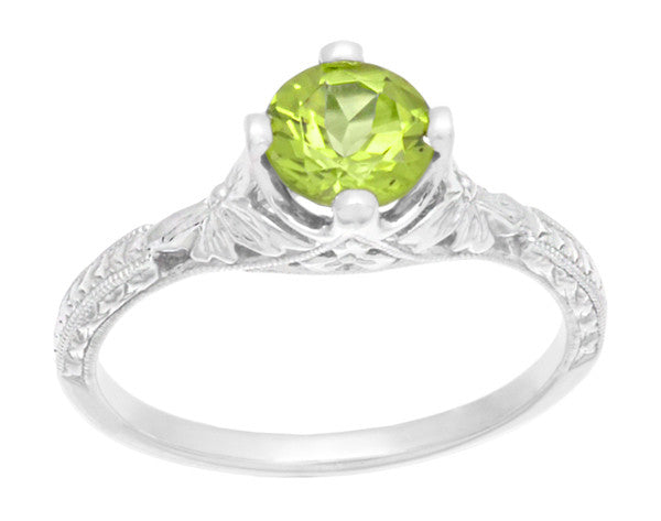 Art Deco Flowers & Wheat Engraved Peridot Promise Ring in Sterling Silver | Vintage Replica - Item: SSR356P - Image: 4
