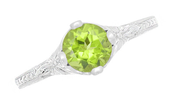 Art Deco Flowers & Wheat Engraved Peridot Promise Ring in Sterling Silver | Vintage Replica - Item: SSR356P - Image: 5