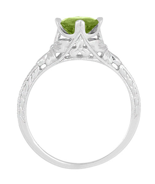 Art Deco Flowers & Wheat Engraved Peridot Promise Ring in Sterling Silver | Vintage Replica - Item: SSR356P - Image: 6