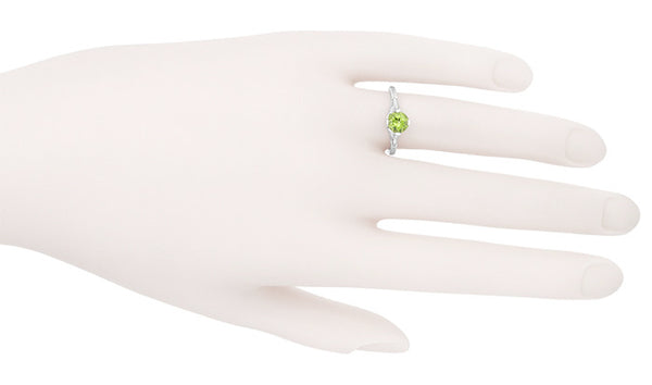 Art Deco Flowers & Wheat Engraved Peridot Promise Ring in Sterling Silver | Vintage Replica - Item: SSR356P - Image: 7
