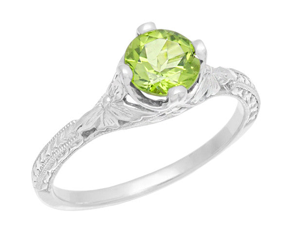 Art Deco Flowers & Wheat Engraved Peridot Promise Ring in Sterling Silver | Vintage Replica - Item: SSR356P - Image: 1