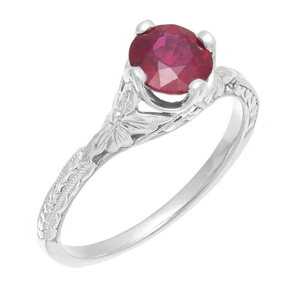 Carved Flowers Filigree Art Deco Ruby Promise Ring in Sterling Silver | Antique Inspired - Item: SSR356R - Image: 2