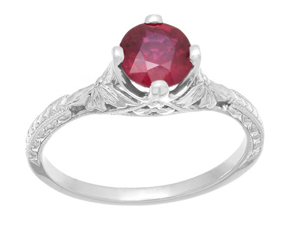 Carved Flowers Filigree Art Deco Ruby Promise Ring in Sterling Silver | Antique Inspired - Item: SSR356R - Image: 3