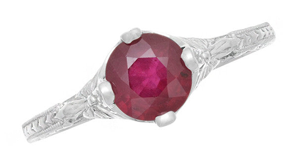 Carved Flowers Filigree Art Deco Ruby Promise Ring in Sterling Silver | Antique Inspired - Item: SSR356R - Image: 4