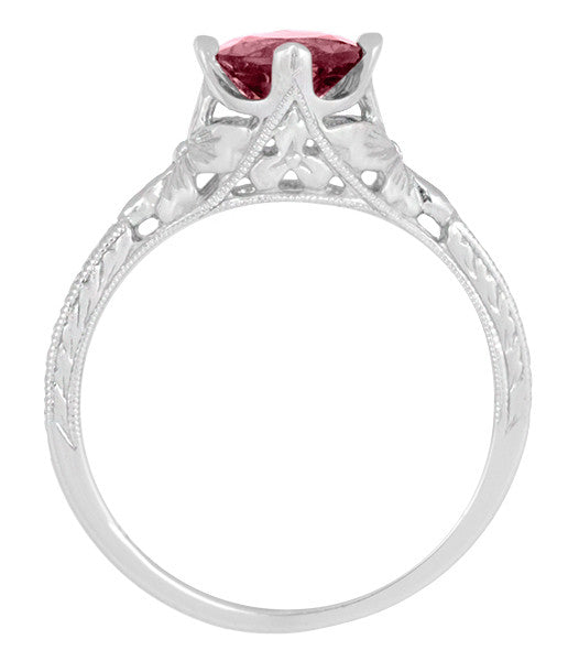 Carved Flowers Filigree Art Deco Ruby Promise Ring in Sterling Silver | Antique Inspired - Item: SSR356R - Image: 5